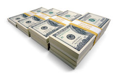 Stacks of Hundred Dollar Bills. Increasing Stacks of Hundred Dollar Bills on a white background