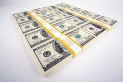 Stacks of Hundred Dollar Bills Stock Image