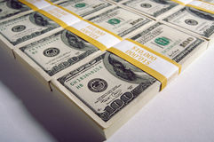 Stacks of Hundred Dollar Bills Royalty Free Stock Photo