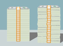 Stacks of Hundred Dollar Bills in Bundles Stock Image