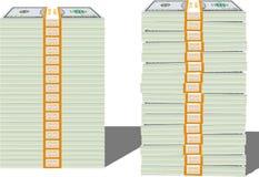 Stacks of Hundred Dollar Bills in Bundles Royalty Free Stock Photos