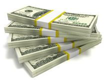 Stacks of Hundred Dollar Bills Stock Photography