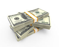 Stacks of Hundred Dollar Bills. On white background. 3d render Royalty Free Illustration