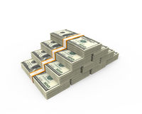 Stacks of Hundred Dollar Bills. On white background. 3d render royalty free illustration