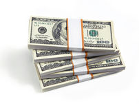 Stacks of hundred dollars Stock Photos