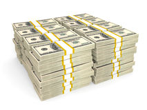 Stacks of Hundred US Dollars. Royalty Free Stock Image