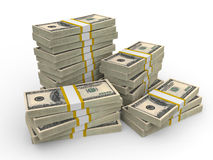 Stacks of Hundred US Dollars. Royalty Free Stock Photos