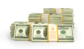 Stacks of Hundred US Dollars. Royalty Free Stock Images