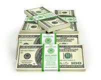 Stacks of Hundred US Dollars. Royalty Free Stock Photos