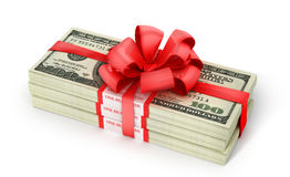 Stacks of Hundred US Dollars. Stock Photo