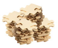 Stacks of Jigsaw Puzzle Pieces Stock Photos
