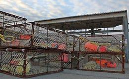 Stacks of large crab pots Royalty Free Stock Photo