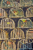 Stacks of lobster traps, Muscongus Bay in New Harbor, ME Stock Photos