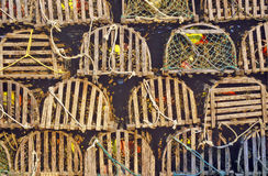 Stacks of lobster traps, Muscongus Bay in New Harbor, ME Stock Images