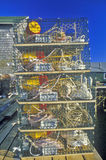 Stacks of lobster traps, Muscongus Bay in New Harbor, ME Stock Photography
