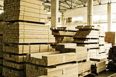 Stacks of lumber. In warehouse stock photo