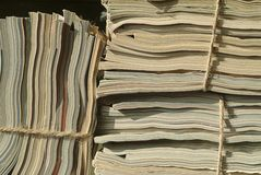 Stacks of magazines ready to be recycled Royalty Free Stock Photos