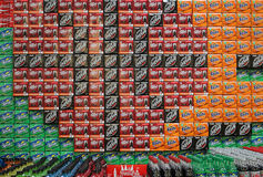 Stacks of Many Cola Products Royalty Free Stock Images