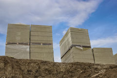 Stacks of mineral rock wool board insulation Stock Photography
