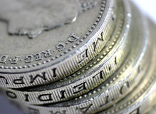 Stacks of money. Stack of British £1 coins Stock Images
