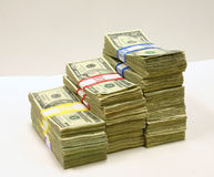 Stacks of Money. Three stacks of U.S. currency Royalty Free Stock Image