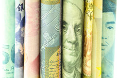 Stacks of Money. From different countries stock photo