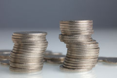 Stacks of money coins Royalty Free Stock Photos