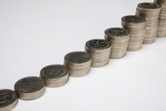 Stacks of money coins Royalty Free Stock Images