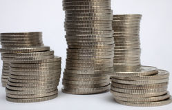 Stacks of money coins stock images