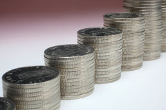 Stacks of money coins. On a white background stock photo