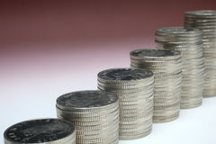Stacks of money coins. On a white background royalty free stock photography