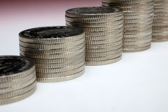 Stacks of money coins. On a white background royalty free stock photos