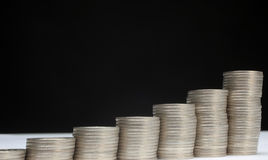 Stacks of money coins. On a white background royalty free stock photo