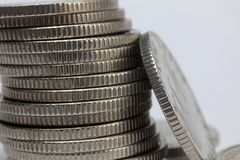 Stacks of money coins. On a white background royalty free stock image