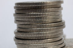 Stacks of money coins. On a white background stock images