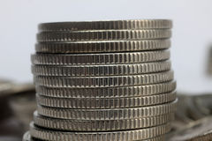 Stacks of money coins. On a white background stock image