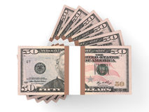 Stacks of money. Fifty dollars. 3D illustration Stock Image