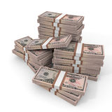 Stacks of money. Fifty dollars. Stacks of money.  Fifty dollars. 3D illustration Royalty Free Stock Images