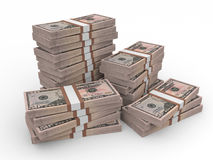Stacks of money. Fifty dollars. Stock Photos