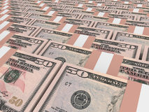 Stacks of money. Fifty dollars. 3D illustration Stock Images