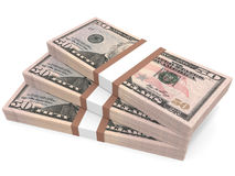 Stacks of money. Fifty dollars. 3D illustration Royalty Free Stock Photos