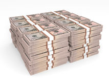 Stacks of money. Fifty dollars. Stacks of money.  Fifty dollars. 3D illustration Royalty Free Stock Photo