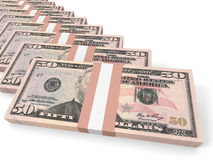 Stacks of money. Fifty dollars. 3D illustration Stock Photos