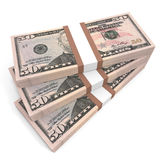 Stacks of money. Fifty dollars. 3D illustration Royalty Free Stock Image