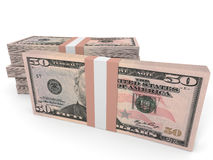 Stacks of money. Fifty dollars. 3D illustration Royalty Free Stock Photography