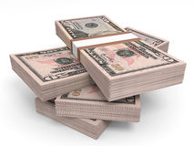 Stacks of money. Fifty dollars. 3D illustration Royalty Free Stock Photo