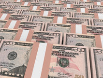 Stacks of money. Fifty dollars. 3D illustration Stock Photography