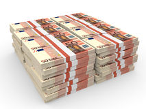 Stacks of money. Fifty euros. 3D illustration Royalty Free Stock Photography