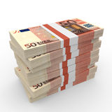 Stacks of money. Fifty euros. 3D illustration Royalty Free Stock Photo