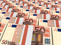 Stacks of money. Fifty euros. 3D illustration Stock Image